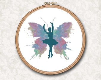 Ballernina Ballet Girl Butterfly Watercolor Counted Cross Stitch Pattern - PDF Digital Download