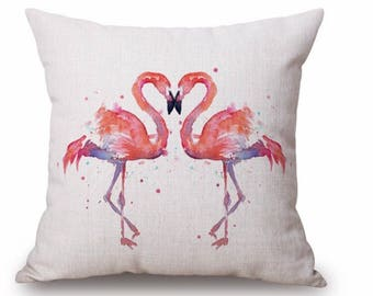 """Flamingo Love cushion - 18"""" by 18"""" Made To Order - Stunning Design - Cushion Insert included"""