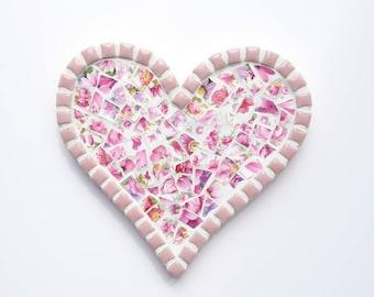Mosaic heart, Pink mosaic heart, Mosaic wall art, Wall hanging, Floral mosaic heart, Anniversary present, Gift for her, Birthday present