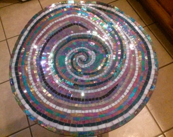 Stained glass mosaic plate/art