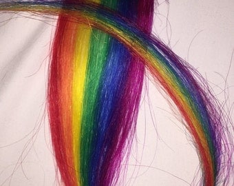 "1 x human hair extension vertical rainbow clip in . Gay pride . Hippy . Festival . Emo . Scene . Hand painted  love 16""L 2""W"