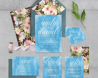 "Printable Wedding Invitation Suite ""Mirisinie"" - Printable DIY Invite, Affordable Wedding Invitation"