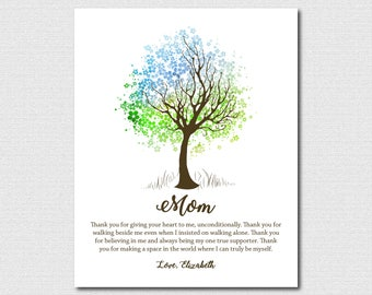Mother Child 75th Birthday Gift for Mom Birthday Gift Personalized Mothers Day Gift For Mothers Day Tree Art Print Gifts for Her Tree Wall