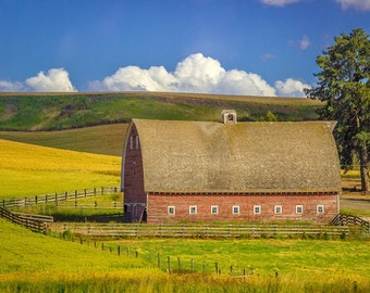 Classic Red Barn on the Palouse: Fine Art Photography