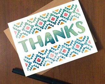 "Thank You Card with Aztec watercolor design —4.25x5.5"" with A2 envelope"