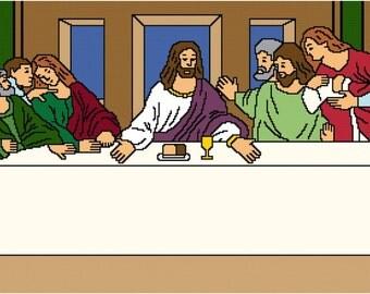 """The Last Supper Cross Stitch Pattern 20 pt. 36"""" x 11"""""""
