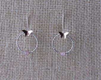Sterling And Copper Butterfly Rose Quartz Hoops