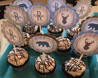 Woodland Creature Cupcake Toppers, Birthday, Baby Shower, Appeling Creations, Its A Boy