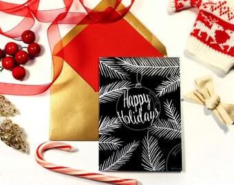 Holiday Card- Happy Holidays- A6 Greeting Card
