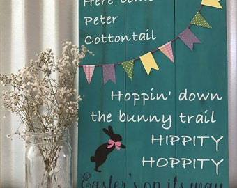 """Hippity Hoppity Easter - hand crafted sign - 10.5"""" x 15"""""""