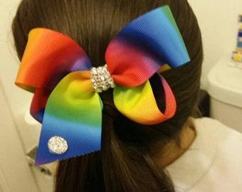 Jojo siwa  inspired rainbow medium size hair bow