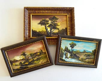 vintage set of three original oil piantings small signed framed oil paintings canvas paintings miniature oils of mexico by roberto arriola
