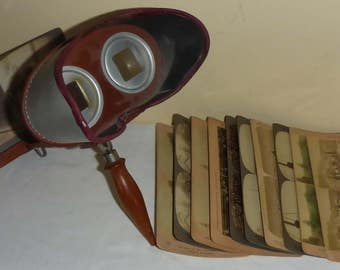 Antique Underwood and Underwood The Mercury Stereoscope with 11 Viewing Cards Circa 1902/03