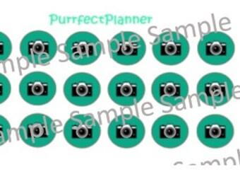 2 xPlanner Stickers Camera Teal Ice Cream Kikki K Erin Condren Digital Download