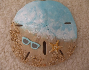 Beach Ornament, Beach Christmas, Seaside, Hand Painted Sand Dollar, Gift Exchange, Package Decoration