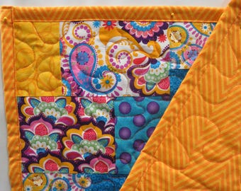Cheerful Bright Blue Orange Purple Paisley Floral Pieced Quilt Throw