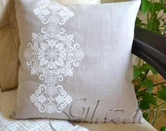 Natural linen pillow cower, decorative pillow