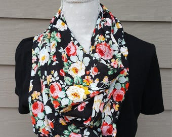 Floral Infinity Scarf, Floral Print, Flowers, Silk, Infinity Scarf, Scarf, Floral Scarf, Rose Scarf, Lightweight Scarf, Floral
