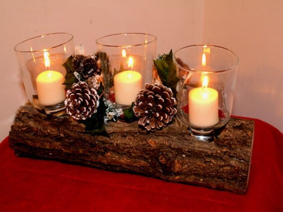 Rustic wood log candle centerpiece