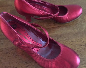 Metallic Red Leather Mary Jane Heels by Fornarina, Italy.  Size 35