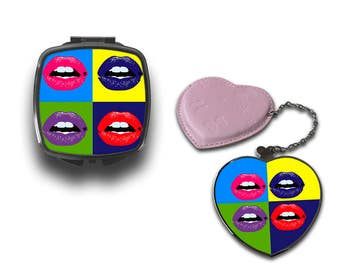 Lips Retro Style Pop Art Compact Makeup Handbag Mirror CM062