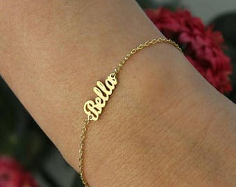 Tiny Name Bracelet-Gold Bracelet-Name Bracelet-Gold Jewelry-Gold Name Bracelets-Bridesmaid Gift-Personalized Gift-Bridesmaid Gift