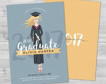 Custom Portrait Graduation Invitation 2017 Graduation Invitations Graduation Party Invitations Graduation Party Invites Grad Announcement