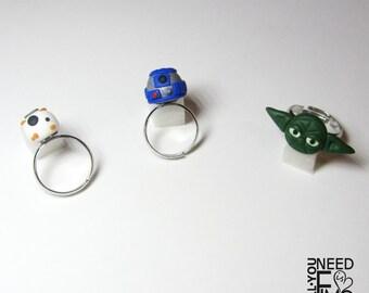 Inspired Star wars ring inspired bb8 ring inspired yoda ring inspired r2d2 ring fimo ring adjustable ring inspired jedi ring nerd ring