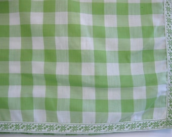 Vintage Green Plaid Country Kitchen Tablecloth 95 X 56, Cloth Table Linen