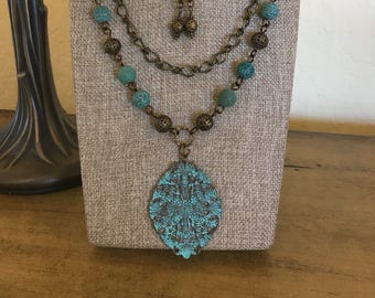 Antique Brass and Turquoise Necklace Set