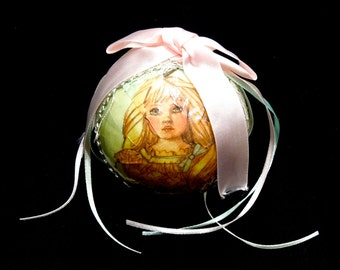 VINTAGE: Paper Mache Girl Ribbon Christmas Ornament - Pink Ornaments - Old New Stock - (15-F1-00006889)