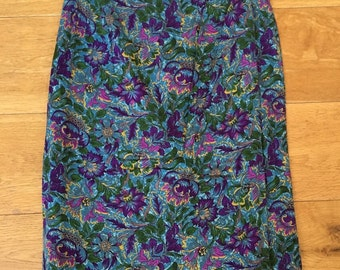 Vintage St Michael 1980s Paisley Floral Rayon Skirt XS 6