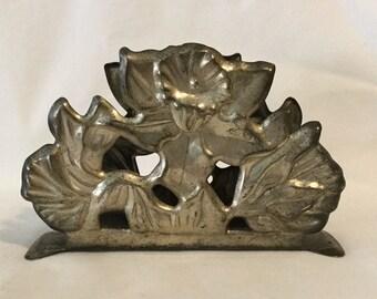 Antique Genuine Silverplate Daffodil Pattern Napkin Holder