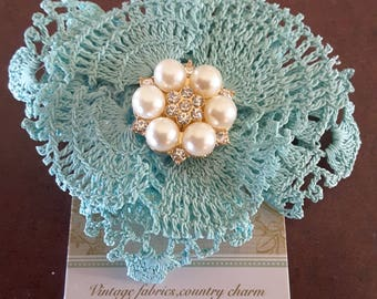 Hair clip,Flower,hand made,shabby chic accessories,vintage fabrics,vintage lace,weddings,formals