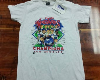 YOUTH size large, dead stock world series shirt, 1988 dodgers world series tee, vtg tee shirt vintage