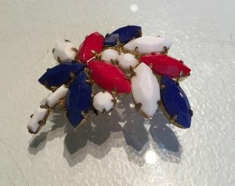 VIntage Red White and Blue Milk Glass Leaf Brooch