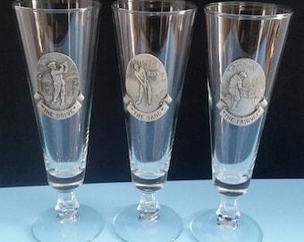 Vintage Libbey Pilsner Glasses with Pewter Golf Medallion