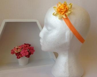 Orange and Yellow Flower Headband