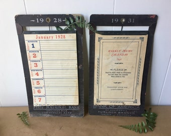Vintage Calendars from 1928 and 1931 - First National Bank - Bank of America - Film Props - Office Decor