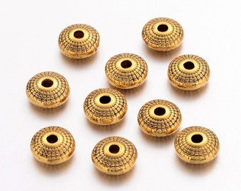 20 Antique Gold Tone Flat Round Spacer Beads 8mm (B140d)