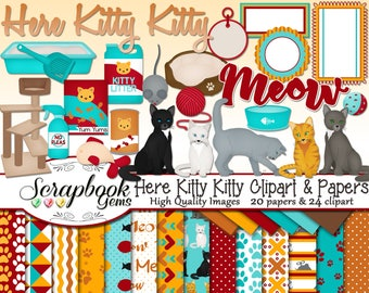 HERE KITTY KITTY Clipart & Papers Kit, 24 png Clip arts, 20 jpeg Papers Instant Download cat kitten feline animals pet litter paw print tags