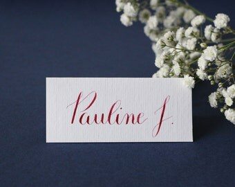 Marque place | Escort card calligraphie à la main - mariage et événements | Calligraphie noms invités tables de fête
