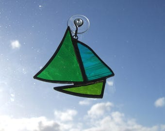 Stained Glass Sail Boat / Yacht Sun Catcher in Greens