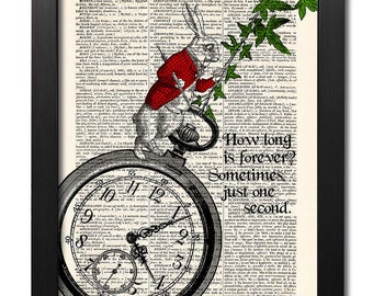 Alice in Wonderland, White rabbit quote print, Antique book page, Wall art, Illustration print, Home Wall Decor, Gift poster [ART 042]