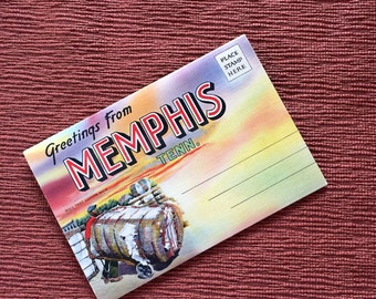 Greetings From Memphis Vintage Linen Postcard Pull Out