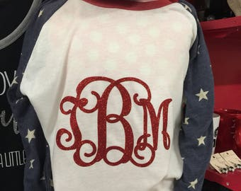 Patriotic 3/4 ragland with  stars and glitter monogram .