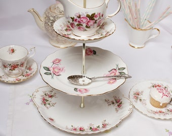 "Lavender Rose "" Royal Albert"" bone china 3 tier mad hatter dessert stand/ cake stand / cupcake display, china party stand."