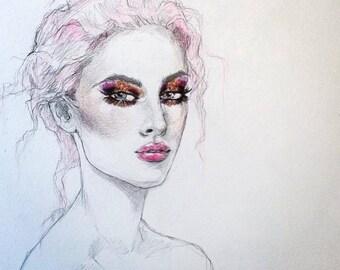 Glitter eyes original watercolor and graphite fashion illustration