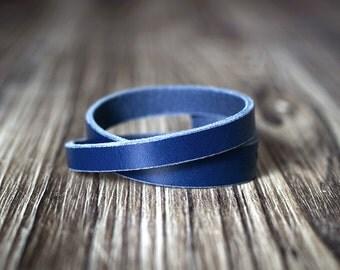 Minimalist double length leather bracelet – BLUE - Women's bracelet - Men's bracelet - Blue bracelet - Men's gift