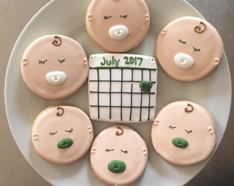 Custom Pregnancy Announcement Sugar Cookies. Save the date calendar cookies, baby face cookies.  Order is for one dozen (12) cookies